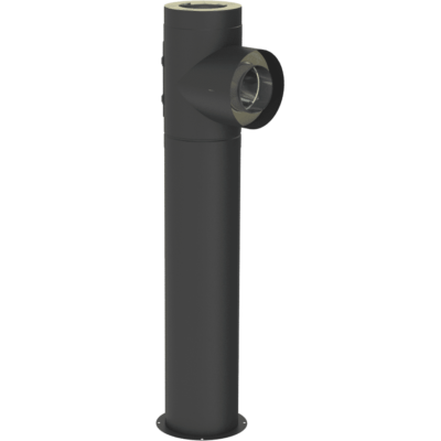 L-rör 240 mm med sotlucka och stödben, justerbart